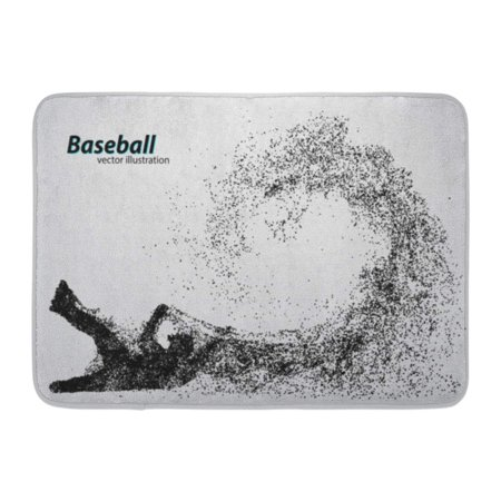 GODPOK Silhouette of Baseball Player from Particle and Text on Separate Layer Color Can Be Changed in One Click Rug Doormat Bath Mat 23.6x15.7 inch