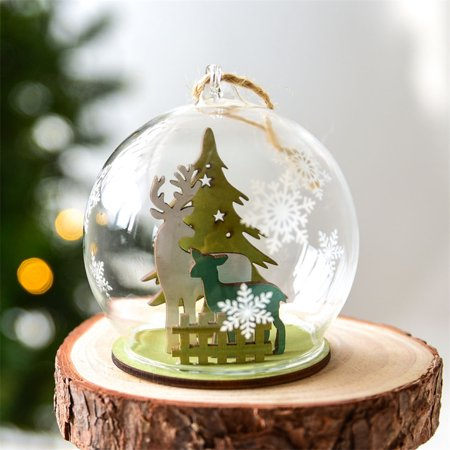 63af0e2b771a cottcuboaba Christmas Ball Ornament Clear Glass Bauble Xmas Decoration  Pendant Wedding DIY party Event Memory ball Glass ball Christmas decoration  ...