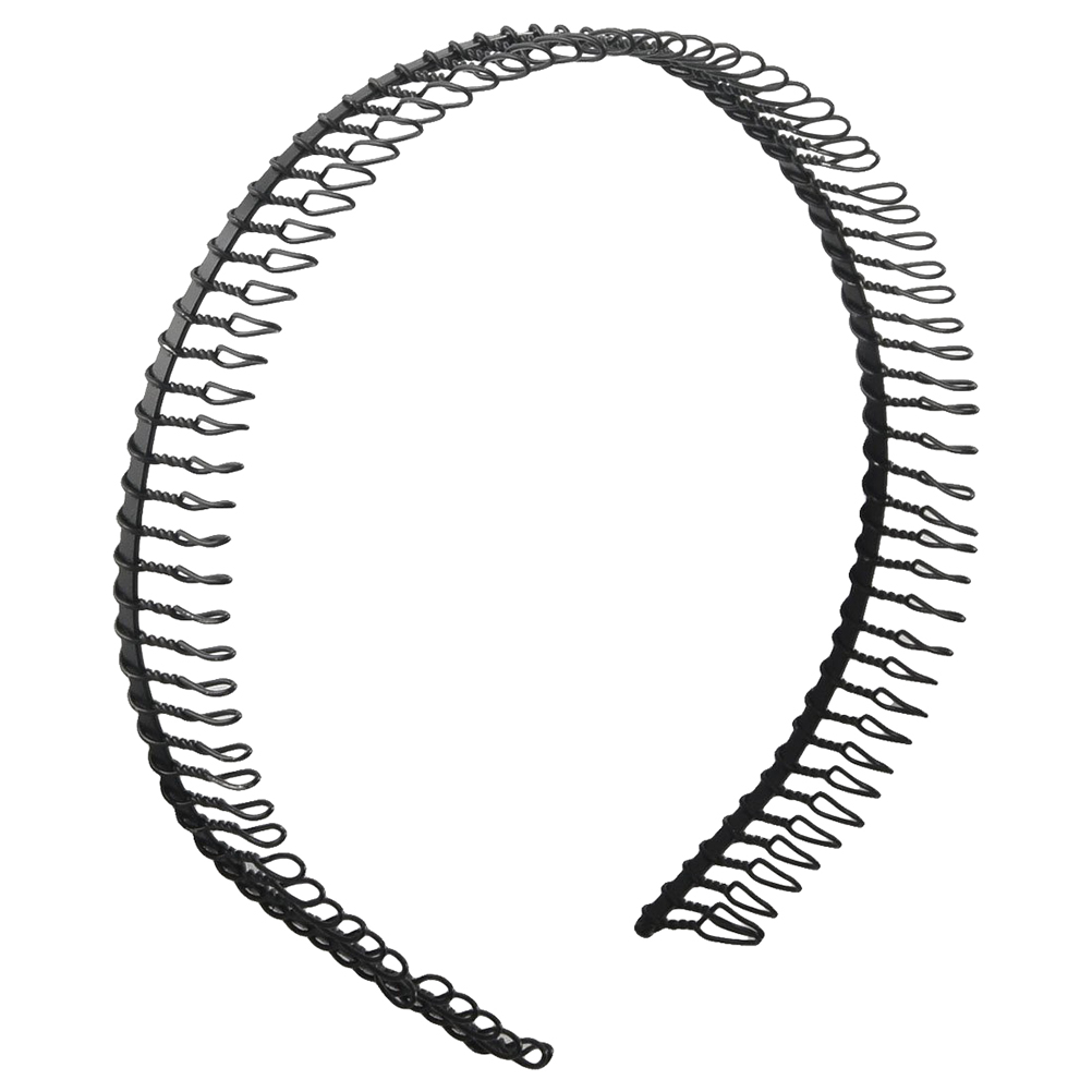 Woman Metal Teeth Comb Hairband Hair Hoop Headband (Black)