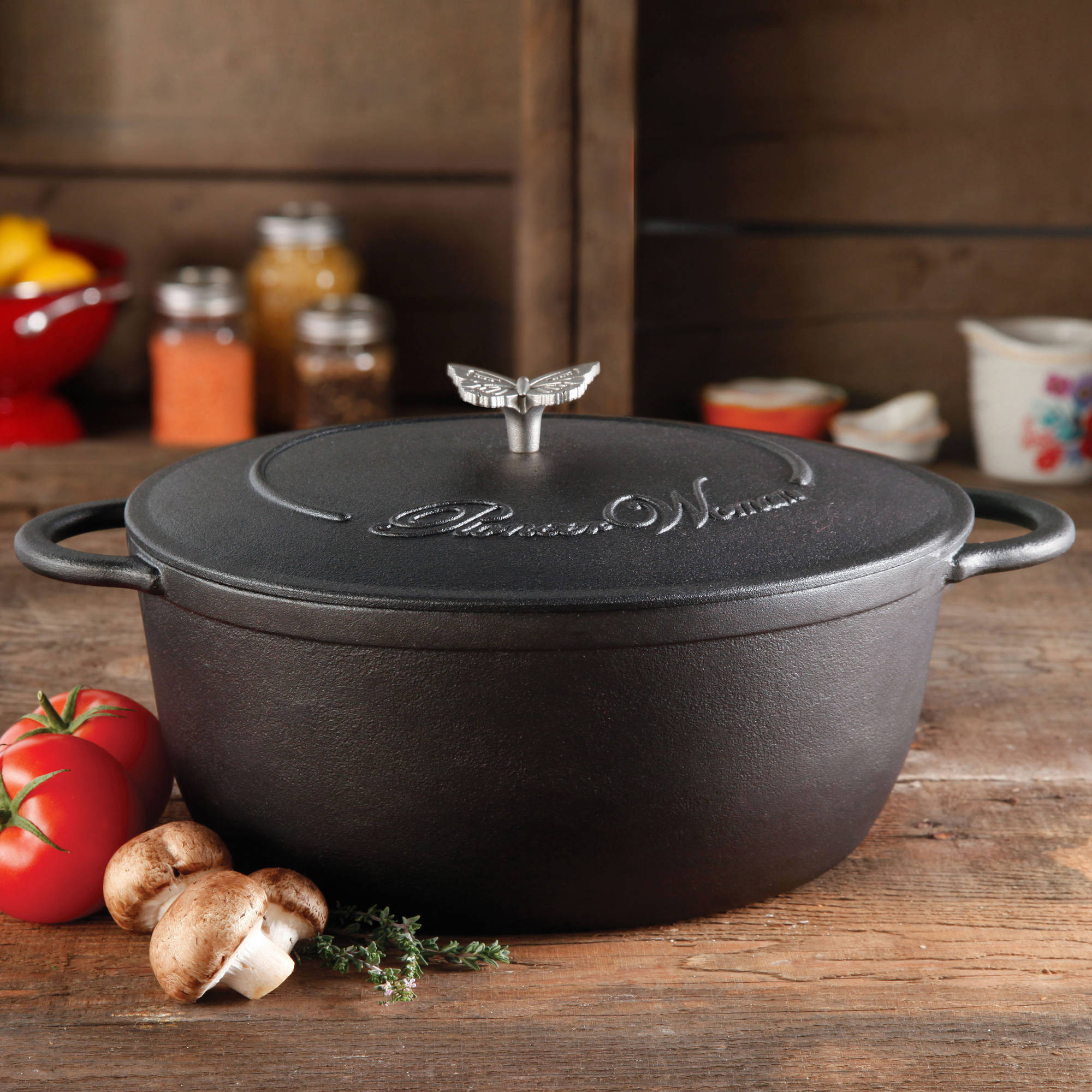 The Pioneer Woman Timeless Cast Iron 7-Quart Dutch Oven with Lid