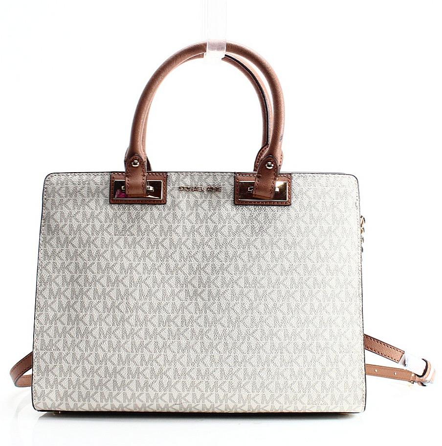 b9f0d6beecb1 ... where to buy michael kors new ivory vanilla pvc signature quinn satchel  bag purse 588db 9e55a