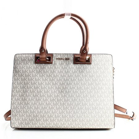 Signature Satchel (Michael Kors NEW Ivory Vanilla PVC Signature Quinn Satchel Bag Purse )