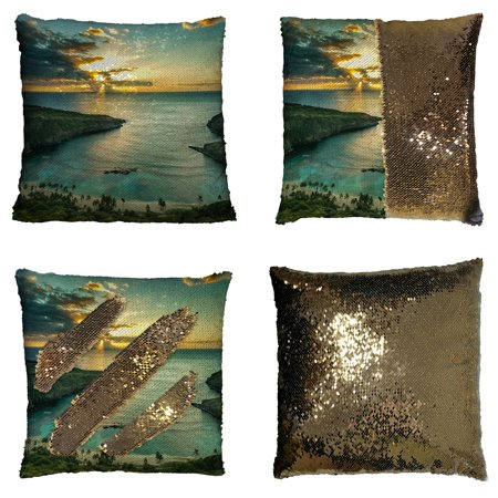 GCKG Landscape Nature Scenery Pillowcase, Sunrise over Hanauma Bay on Oahu, Hawaii Reversible Mermaid Sequin Pillow Case Home Decor Cushion Cover 16x16 inches](Hawaiian Home Decor)