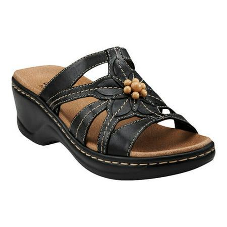 8537a34a2ce1 Clarks - Clarks Narrative Lexi Myrtle Women Open Toe Leather Black Slides  Sandal - Walmart.com
