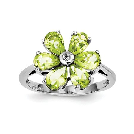 925 Sterling Silver Green Peridot Diamond Flower Band Ring Size 7.00 Stone Flowers/leaf Gemstone Fine Jewelry Ideal Gifts For Women Gift Set From Heart