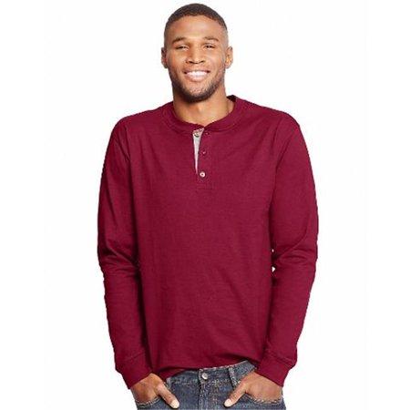 O5719 Beefy Mens Long-Sleeve Henley T-Shirt, Burnt Brick - Medium for $<!---->