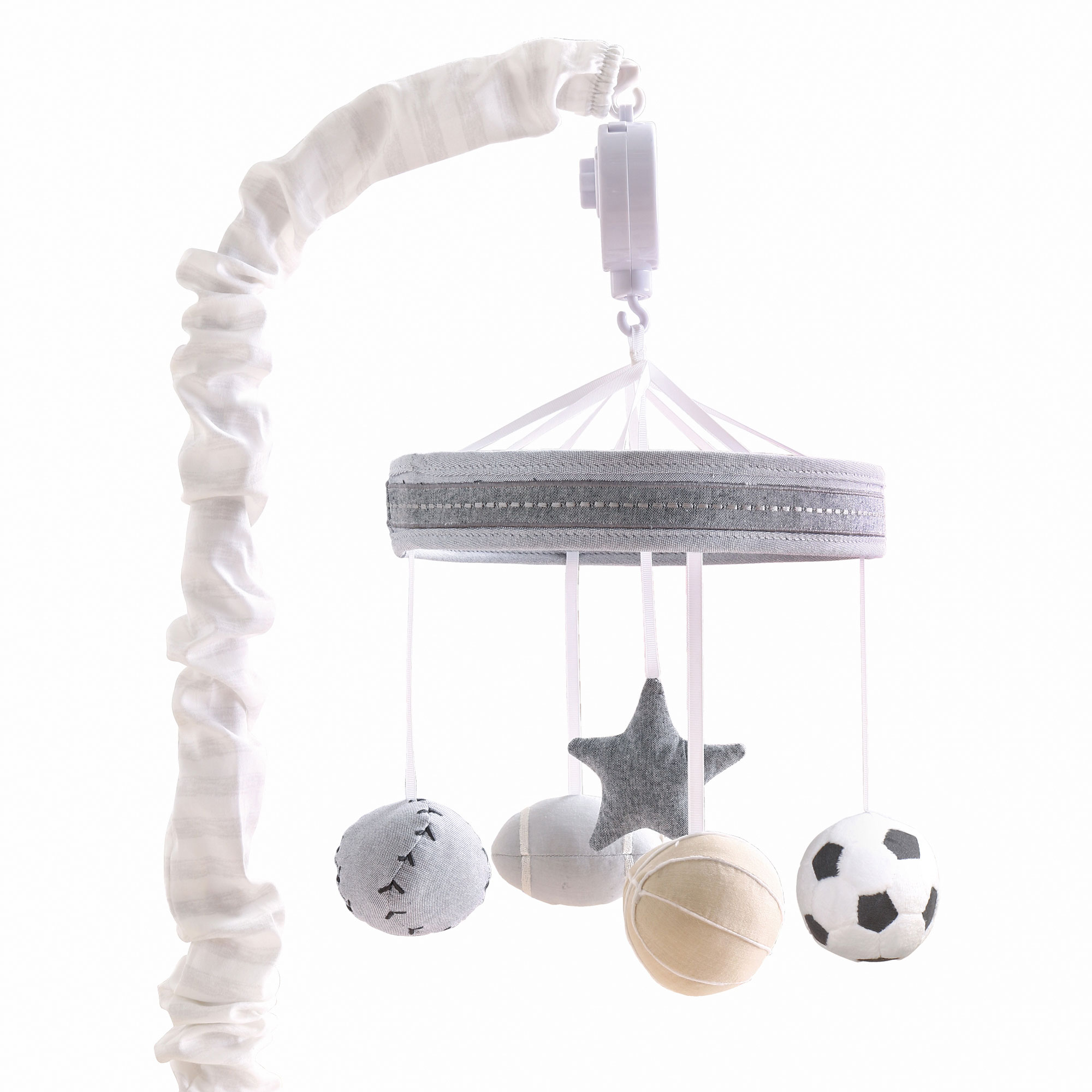 Grey Sports League Digital Musical Crib Mobile by The Peanutshell