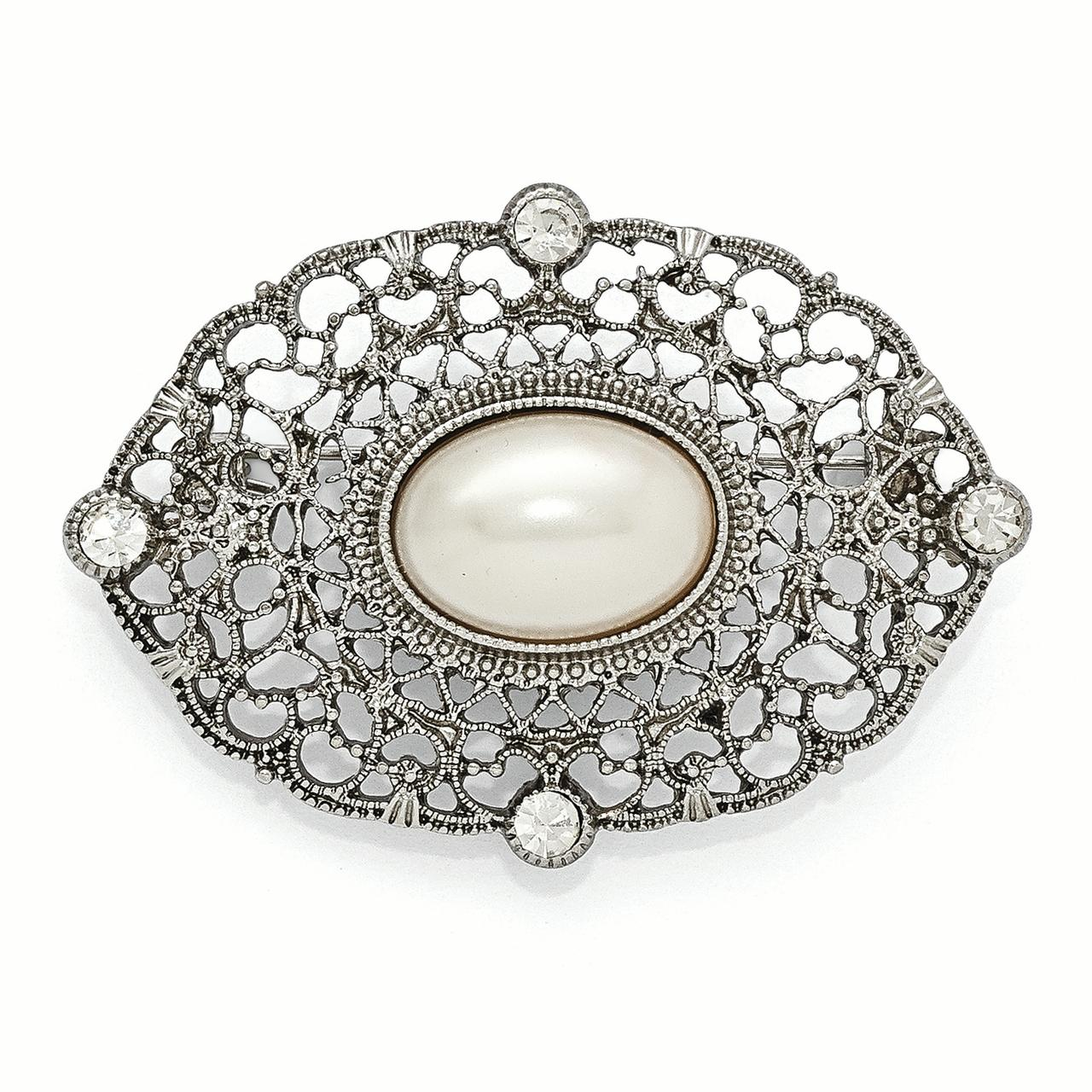 Roy Rose Jewelry 1928 Collection Silver-tone Downton Abbey Clear Glass & Simulated Pearl Oval Pin by