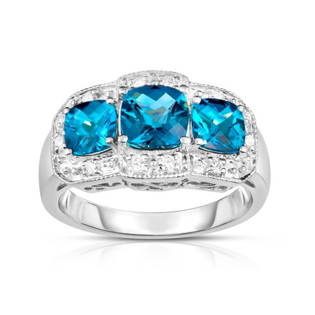 - 14k White Gold Cushion London Blue Topaz and Diamond (0.15 Ct, G-H, SI2) Cocktail Ring