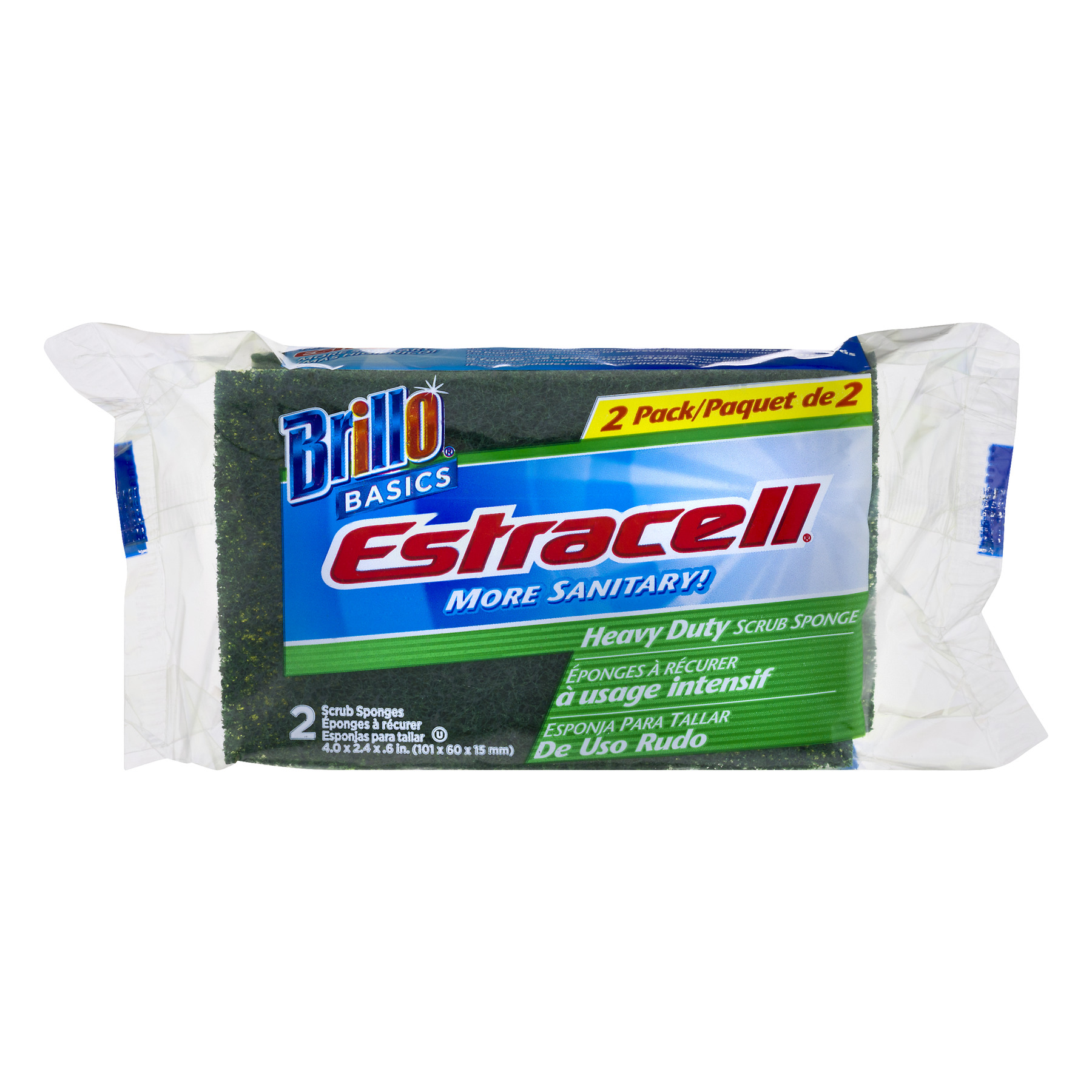 Brillo Estracell Heavy Duty Scrub Sponges, 2 count
