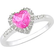 7/8 Carat T.G.W. Pink Sapphire and Diamond-Accent Sterling Silver Heart Ring