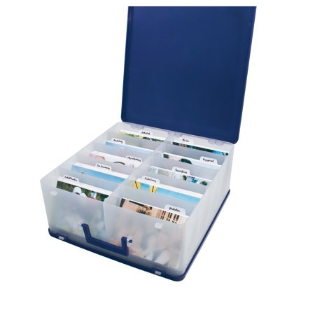 Cropper Hopper Blue Photo Case with Removable Dividers for 4x6-inch Photos, Portraits or Paper up to 12x12 inches