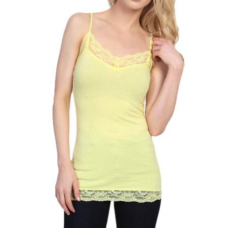 TheMogan Junior's S~3X Basic Floral Lace Trim Streth Cotton Cami Camisole Tank