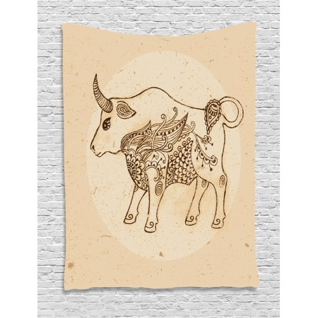 Zodiac Taurus Tapestry, Hand Drawn Bull with Ethnic Ornaments Vintage Antique Tribal Design, Wall Hanging for Bedroom Living Room Dorm Decor, Brown Sand Brown, by Ambesonne