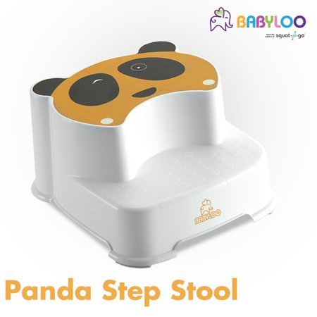 Babyloo Winking Panda Dual Height Step Stool | Bathroom Toilet Potty Training |Two Level Step Stool | Anti-Slip For Kids (Yellow)
