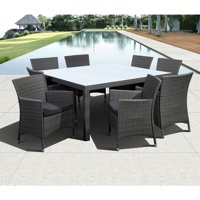 Atlantic Grand New Liberty 9-Piece Square Patio Dining Set With Cushions   High Quality Wicker   Ideal for Outdoors and Poolsides