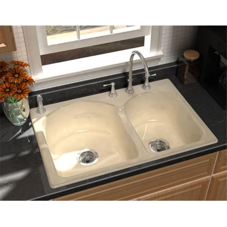 SONG S-8240-3-61 Cast Iron Kitchen Sink in Biscuit with 3 Faucet Holes