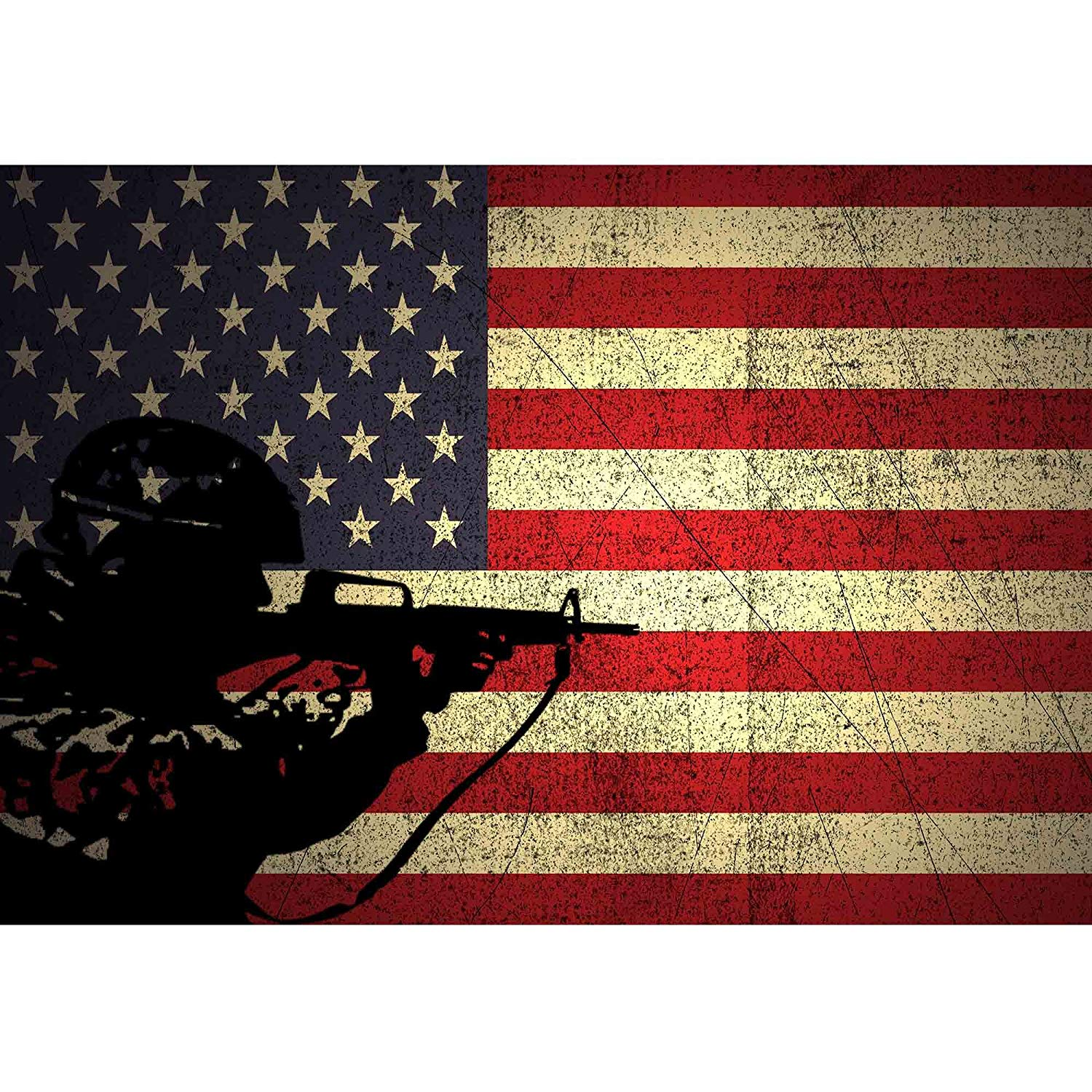 Wall26 A Silhouette Of A Soldier On The Grunge American Flag