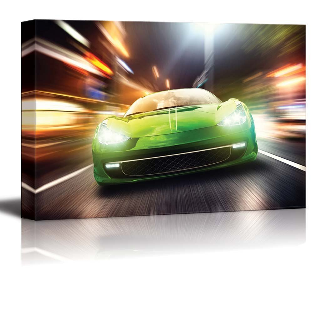 "Canvas Prints Wall Art - Night Race/Green Racing Car | Modern Wall Decor/ Home Decor Stretched Gallery Wraps Giclee Print & Wood Framed. Ready to Hang - 32"" x 48"""