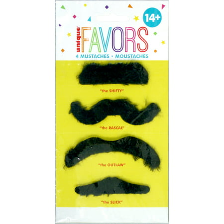 Fake Mustache Party Favors, Assorted, 4ct - Mustache Fake