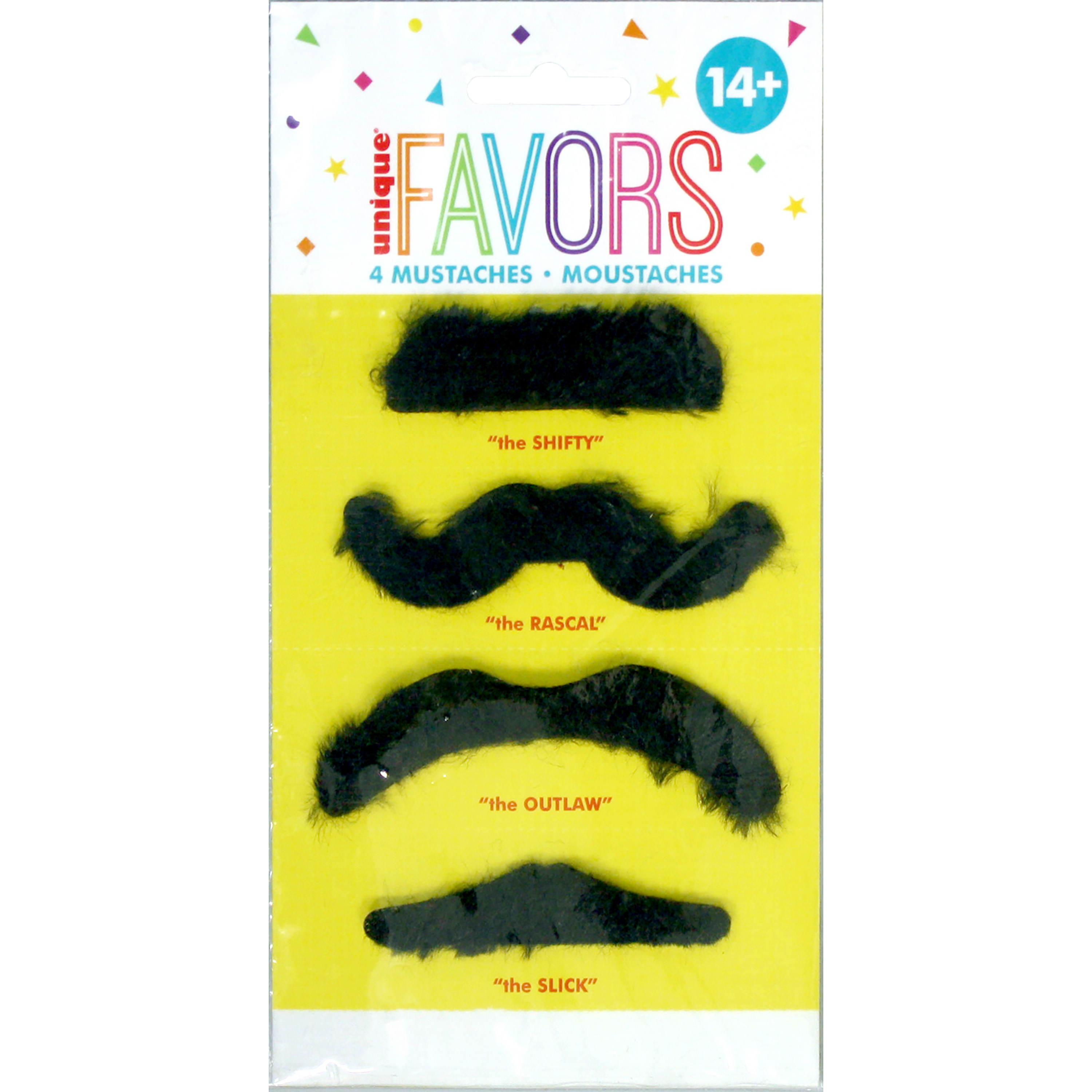 Fake Mustache Party Favors, Assorted, 4ct