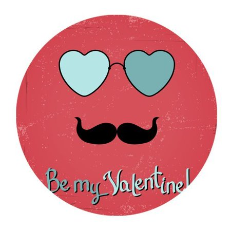 MKHERT Be My Valentine Abstract Face with Mustache Round Mousepad Mat For Mouse Mice Size 7.87x7.87