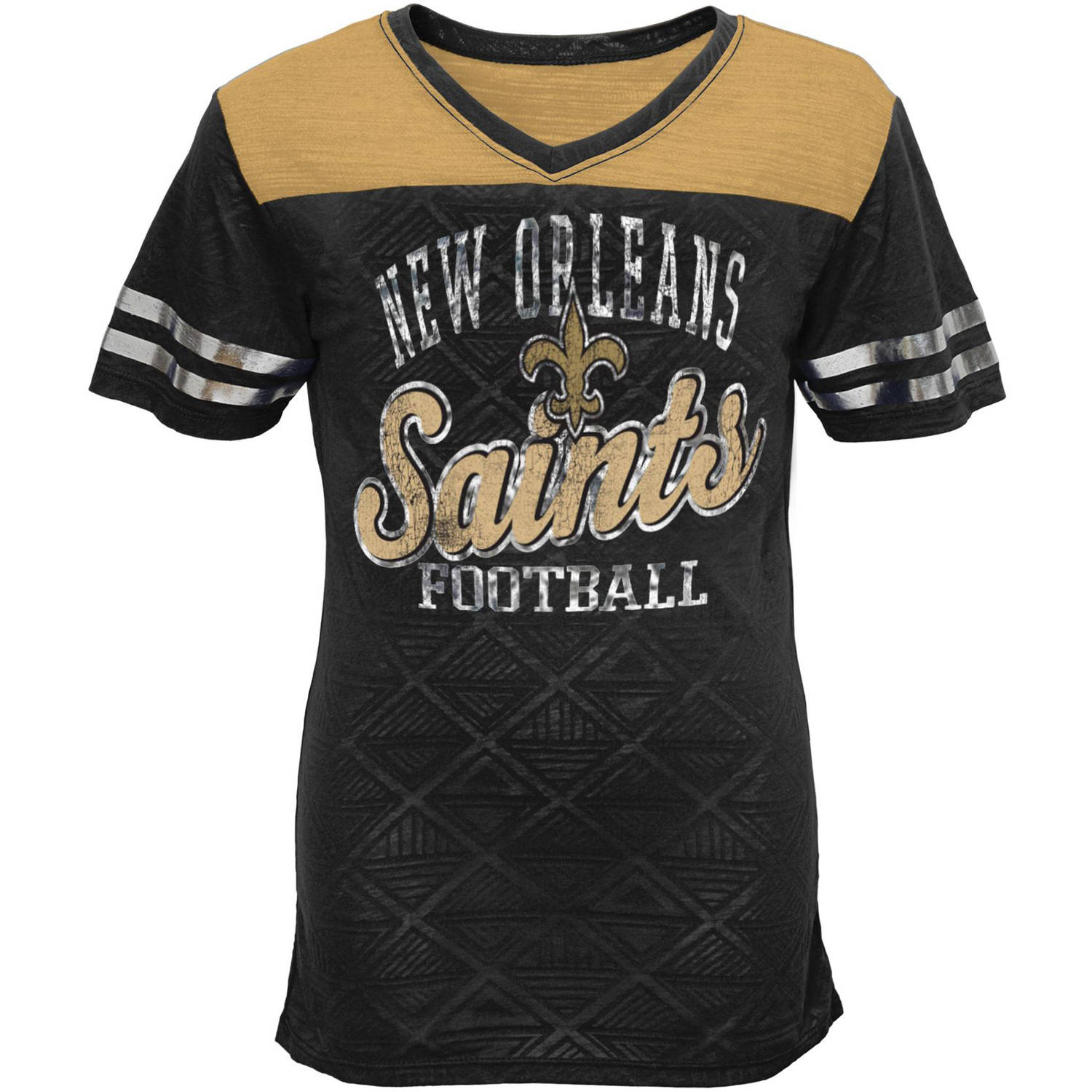 NFL Girls Saints Short Sleeve Vneck Team Top
