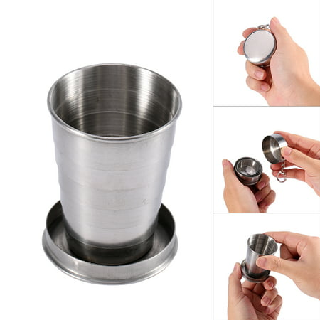 Stainless Steel Portable Outdoor Travel Camping Folding Collapsible Cup Metal Telescopic Keychain
