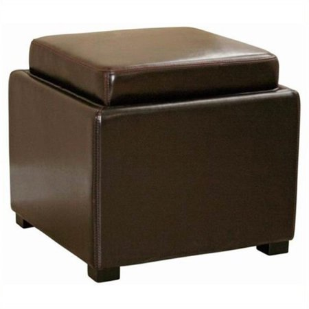 Bowery Hill Square Leather Storage Ottoman In Dark Brown