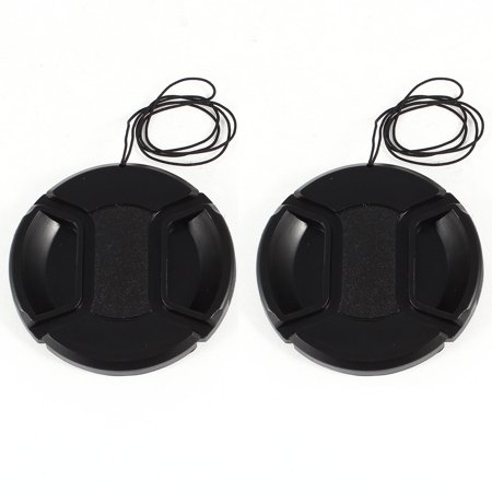 Unique Bargains 2 Pcs 62mm Center Pinch Lens Cap Cover w Strap Leash for DLSR Digital Cameras (Camera Lens Strap)