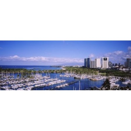 High angle view of boats Ala Wai Honolulu Hawaii USA Stretched Canvas - Panoramic Images (30 x
