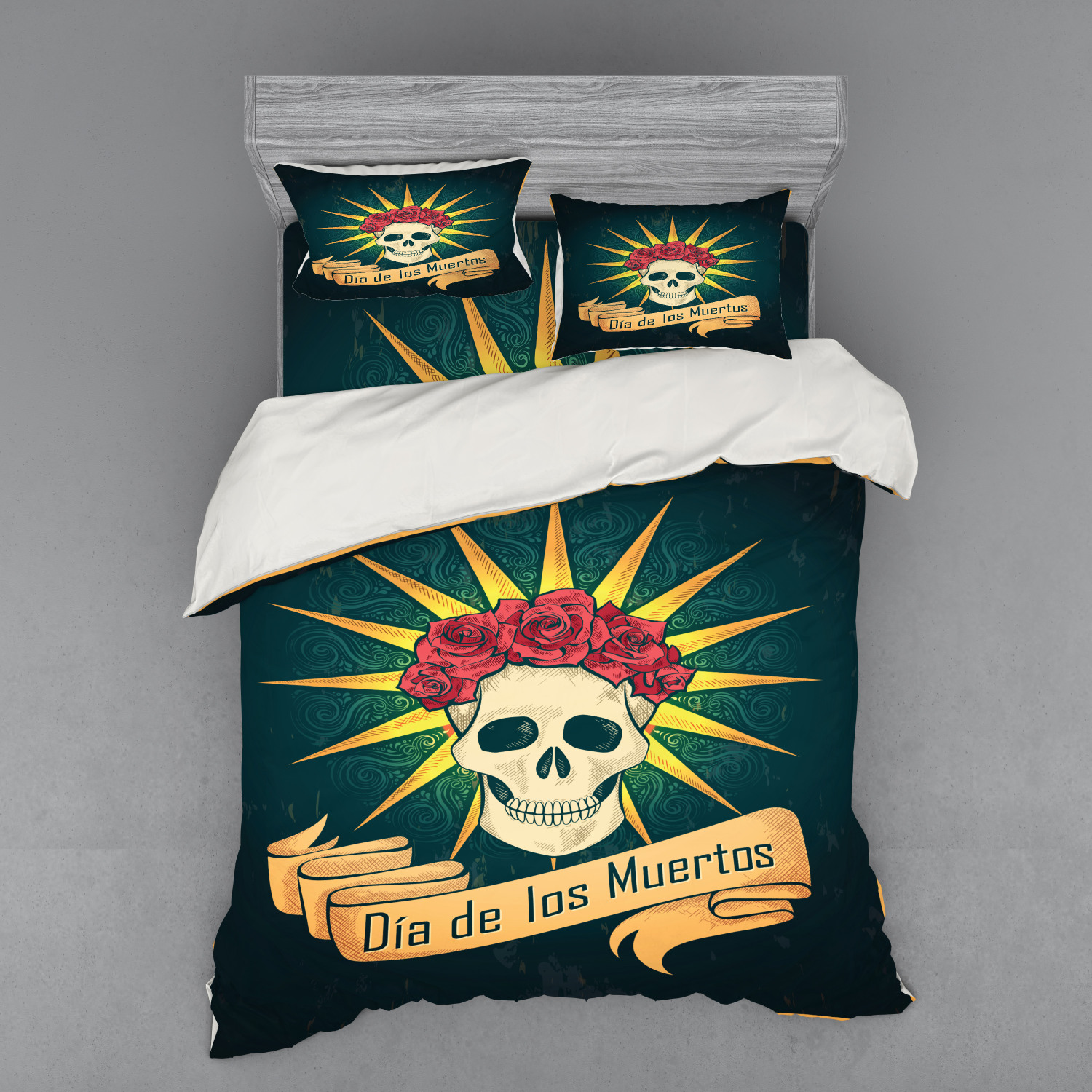 Day of the Dead Duvet Cover Set, Sugar Skull Roses and Dia ...