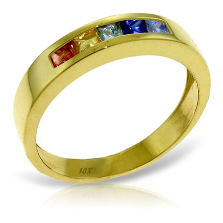 ALARRI 0.6 CTW 14K Solid Gold Rings Natural Multicolor Sapphire With Ring Size 6.5. ()