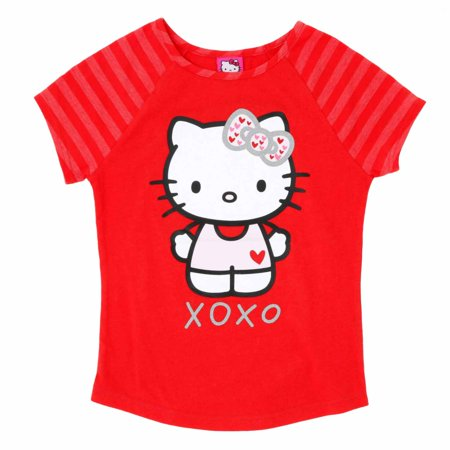 Hello Kitty Girls Red XOXO Valentine Short Sleeve Tee Shirt T-Shirt
