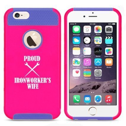 Apple iPhone 6 Plus / 6s Plus Hybrid Shockproof Impact Hard Cover / Soft Silicone Rubber Inside Case Proud Iron Worker