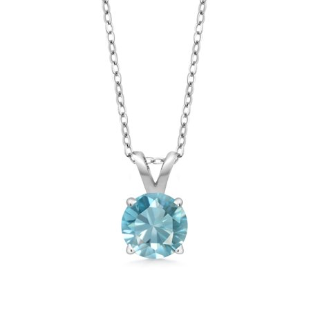 0.85 Ct Round Blue Zircon 925 Sterling Silver Pendant With Chain