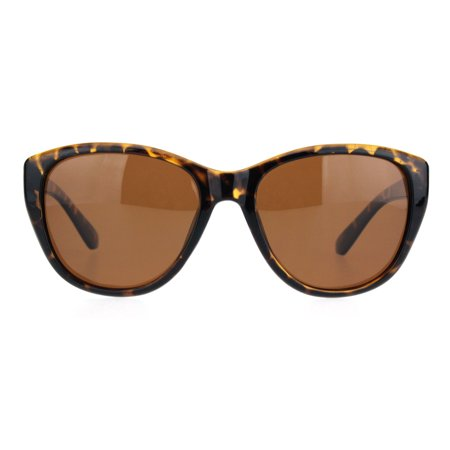 Polarized Women Minimal Simple Plastic Frame Mod Butterfly Sunglasses Tortoise Brown (Bulk Plastic Sunglasses)