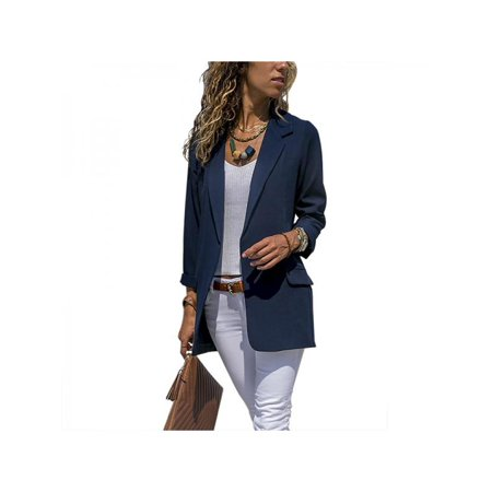 b4e22c29f6 VICOODA - VICOODA Women s Open Front 3 4 Sleeve Work Office Blazer Jacket  Cardigan Casual Basic OL Draped Lapel Blazer Suit Coat - Walmart.com