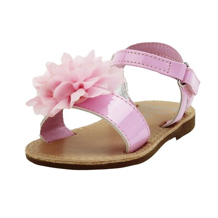 Stepping Stones Little Girls Gladiator Pink Sandals with Flower and Back Straps Girls Strappy Sandals For Casual or Dress Open Toe Summer Sandals Infant Toddler Kids Shoes for Children Slide Size 5T