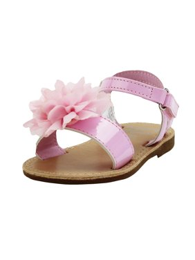 6519e91318e Product Image Stepping Stones Little Girls Gladiator Pink Sandals with  Flower and Back Straps Girls Strappy Sandals For
