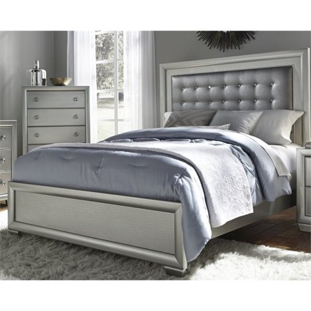 Samuel Lawrence Celestial Upholstered Queen Panel Bed in Silver