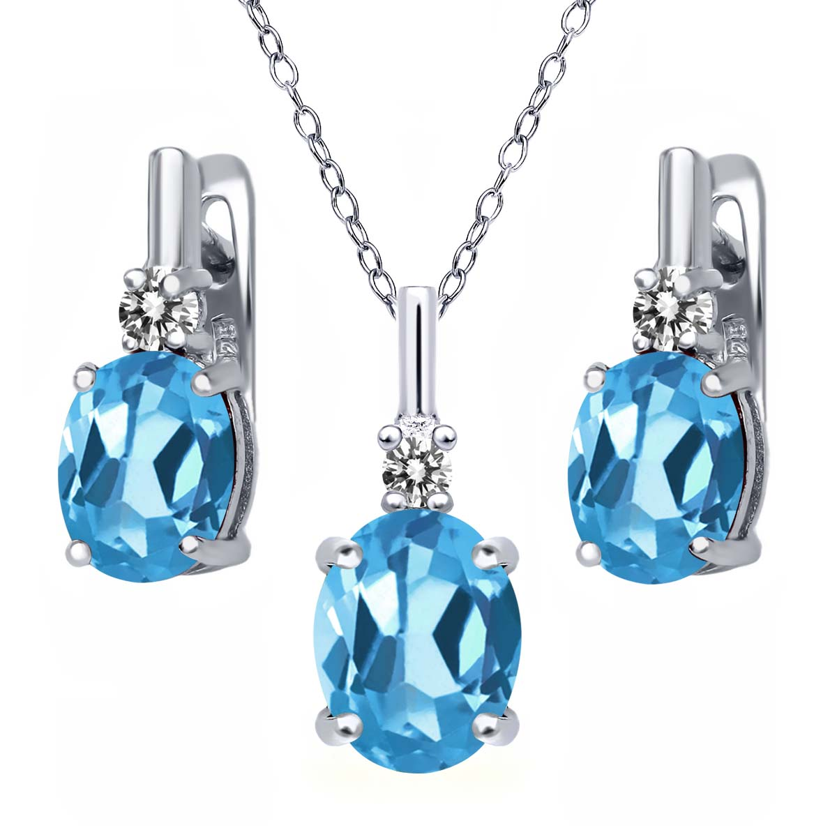 6.67 Ct Swiss Blue Topaz White Diamond 925 Sterling Silver Pendant Earrings Set by