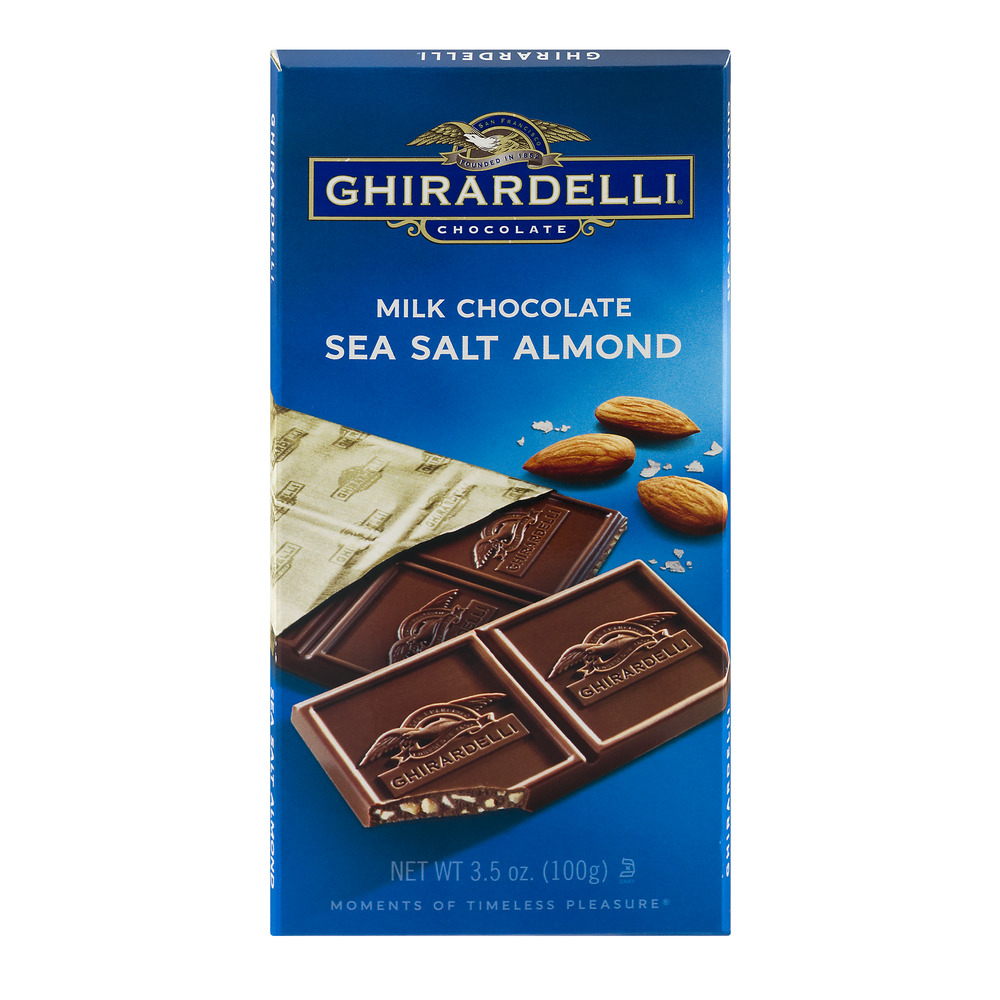 Ghirardelli Milk Chocolate Sea Salt Almond, 3.5 OZ by Ghirardelli Chocolate Company