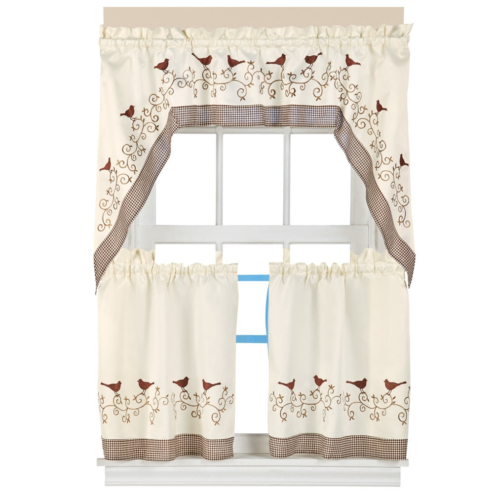 Country Style Embroidered Bird Rod Gingham Pocket 3 Piece Kitchen Cafe  Curtain Set With 2