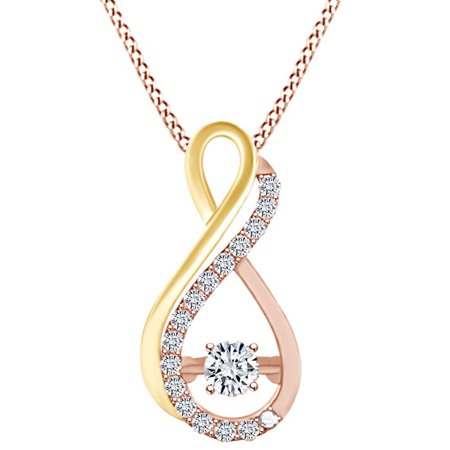 1/7 Carat White Natural Dancing Diamond Two Tone Infinity Pendant Necklace In 10k Solid Rose Gold (0.14 Cttw)