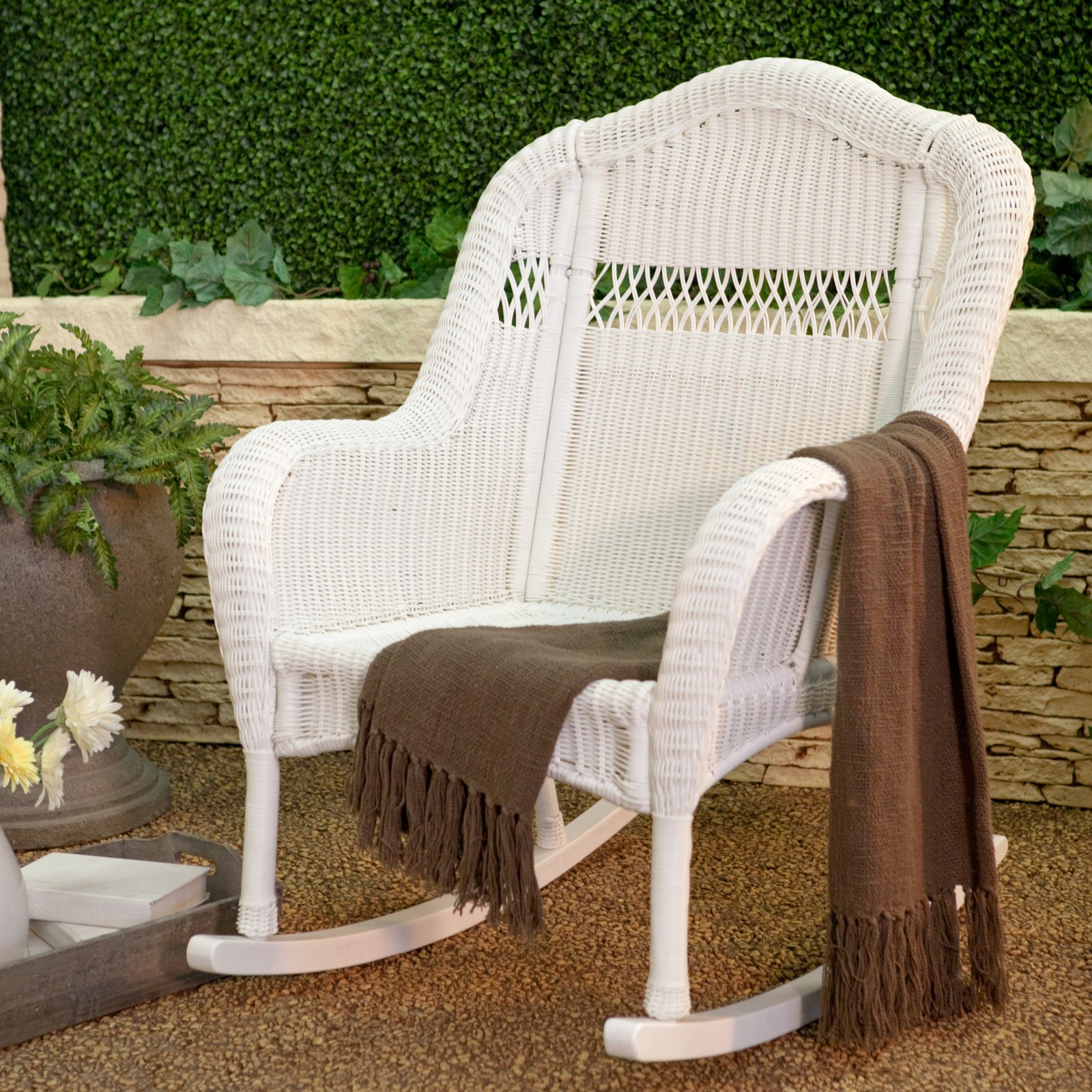 Coral Coast Casco Bay Resin Wicker Rocking Chair with Cushion Option