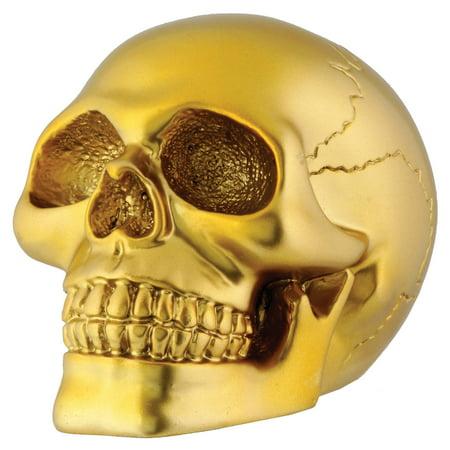 Small Gold Human Skull Skeleton Figurine Miniature Halloween Decoration 2.75 In