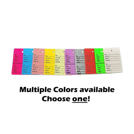 """1000 Two-Part Number, Style, Size & Price Perforated Coupon Tags, 1.25"""" x 1.875"""", Yellow"""