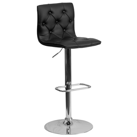 Flash Furniture Contemporary Tufted Vinyl Adjustable Height Barstool with Chrome Base, Multiple Colors ()