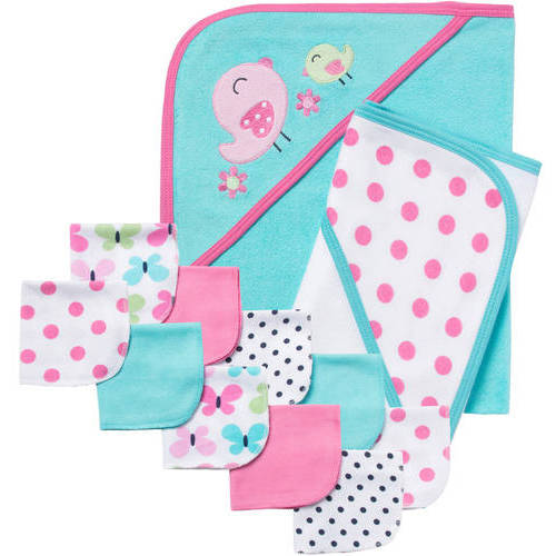 Gerber Newborn Baby Girl 12-Piece Bath Essentials Shower Gift Set